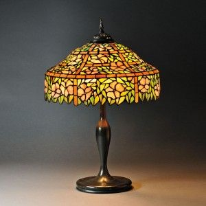 Mosaic Glass Table Lamp Attributed To Unique Art Glass Metal Co. Art Glass  And Metal