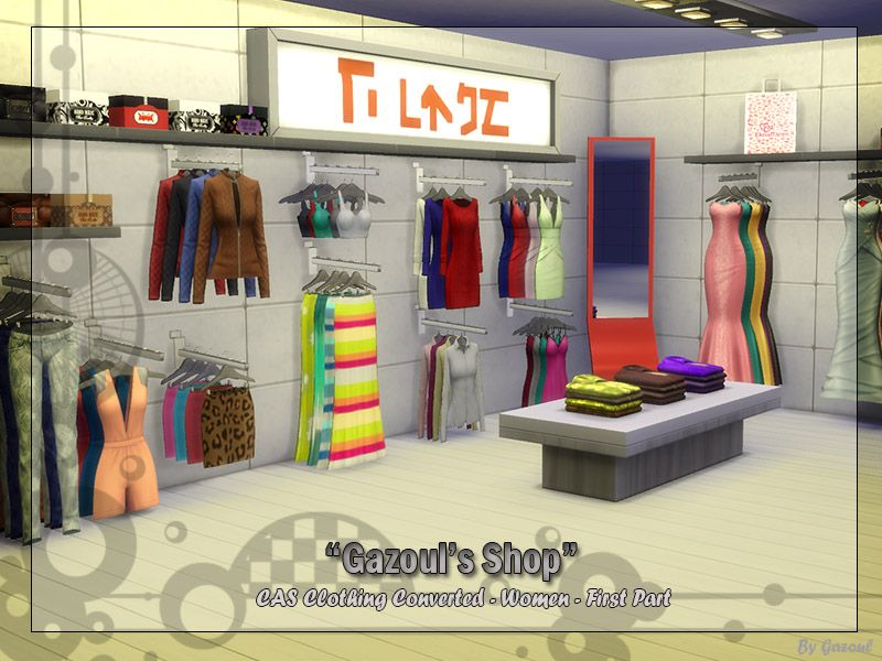 the sims 4 gazoul clothes shop pt 1 buy mode deco community lot new objects the sims 4. Black Bedroom Furniture Sets. Home Design Ideas
