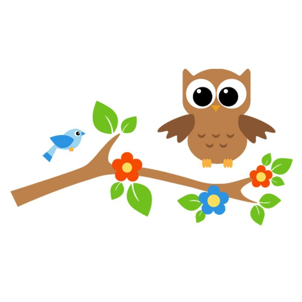 Two Owls On Branch Clip Art Vibrant owl play...