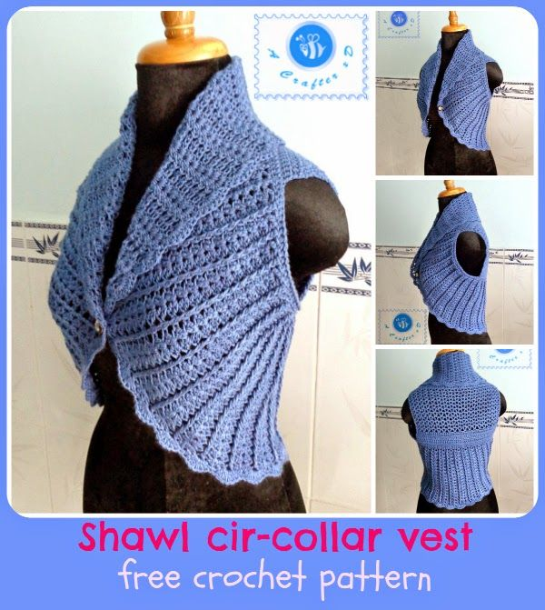 Shawl Cir-collar Vest #freecrochetpattern | Tejidos de bb ...