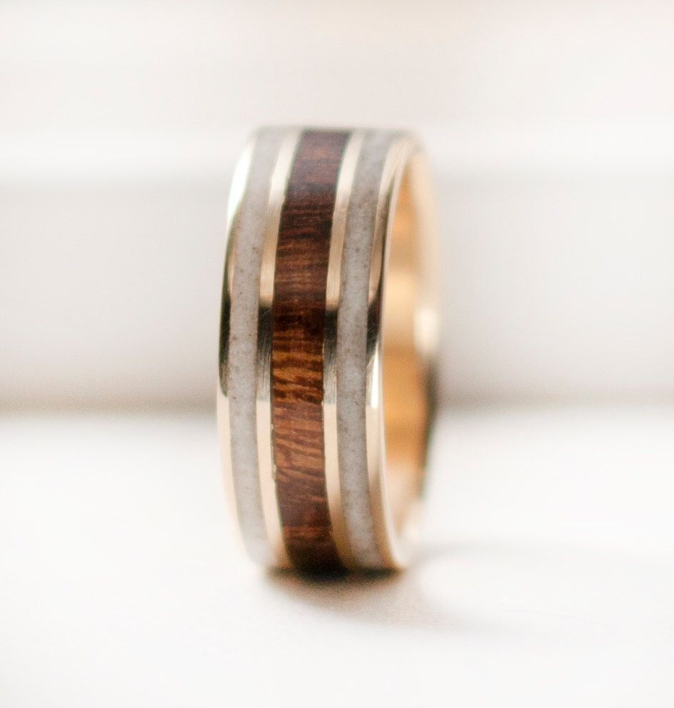 Mens Wedding Band Mens Gold Wedding Ring With Wood And Antler By