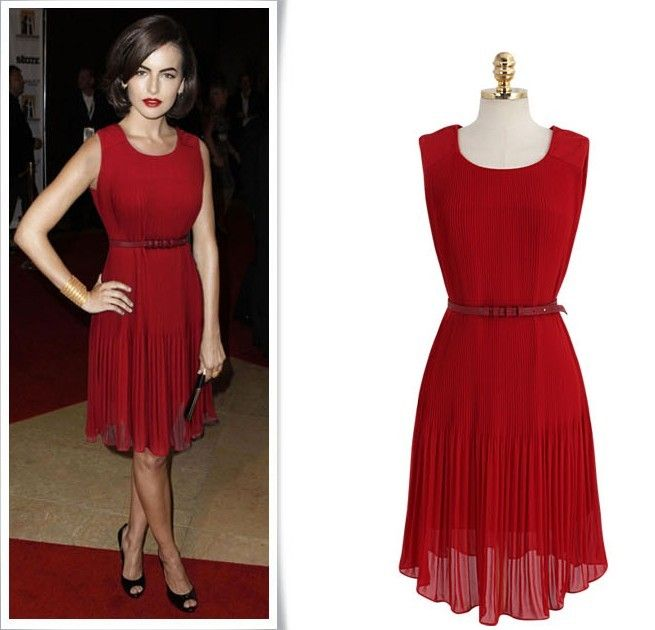 Fashion O neck Tank Sleeveless Pleated Red Chiffon Knee Length Dress