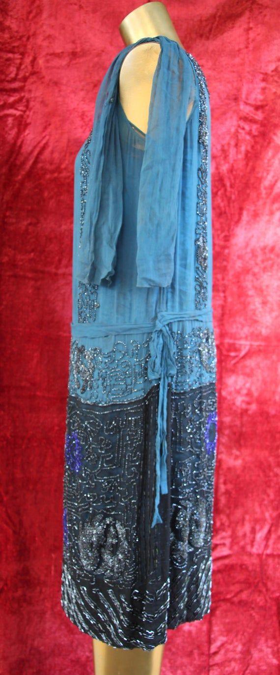 Stunning Art Deco Teal Beaded Silk Flapper Evening Dress 1920s Egyptian Revival -   10 dress Silk flappers ideas