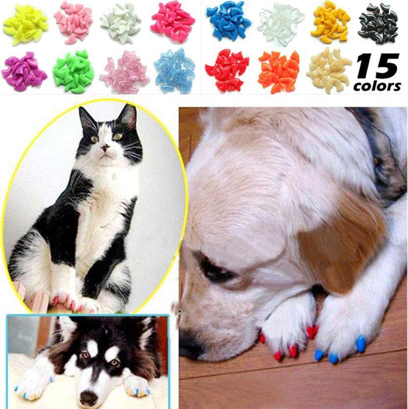 20pcs Soft Cat Pet Nail Caps Claw Control + Adhesive Glue Size M ...