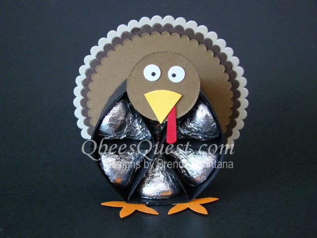Hershey's Turkey Tutorial | Hershey's Kisses, Thanksgiving, Turkeys, 3D, Favors, Stampin' Up, Simply Scored, Scoring, Layering Circles Framelits, Blossom Builder Punch, Qbee's Quest, Brenda Quintana