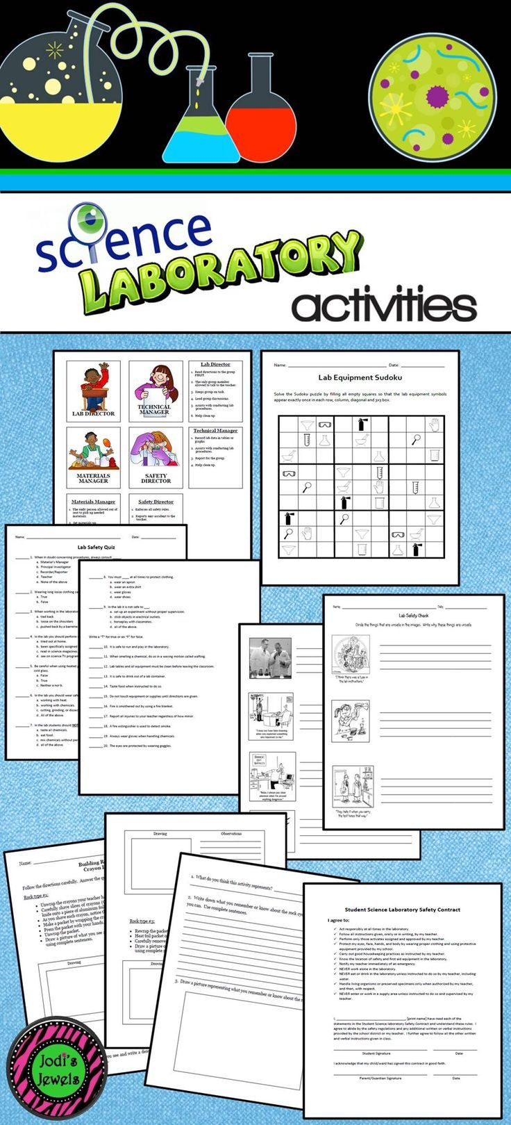 Middle School lab activities by Jodi's Jewels include ...