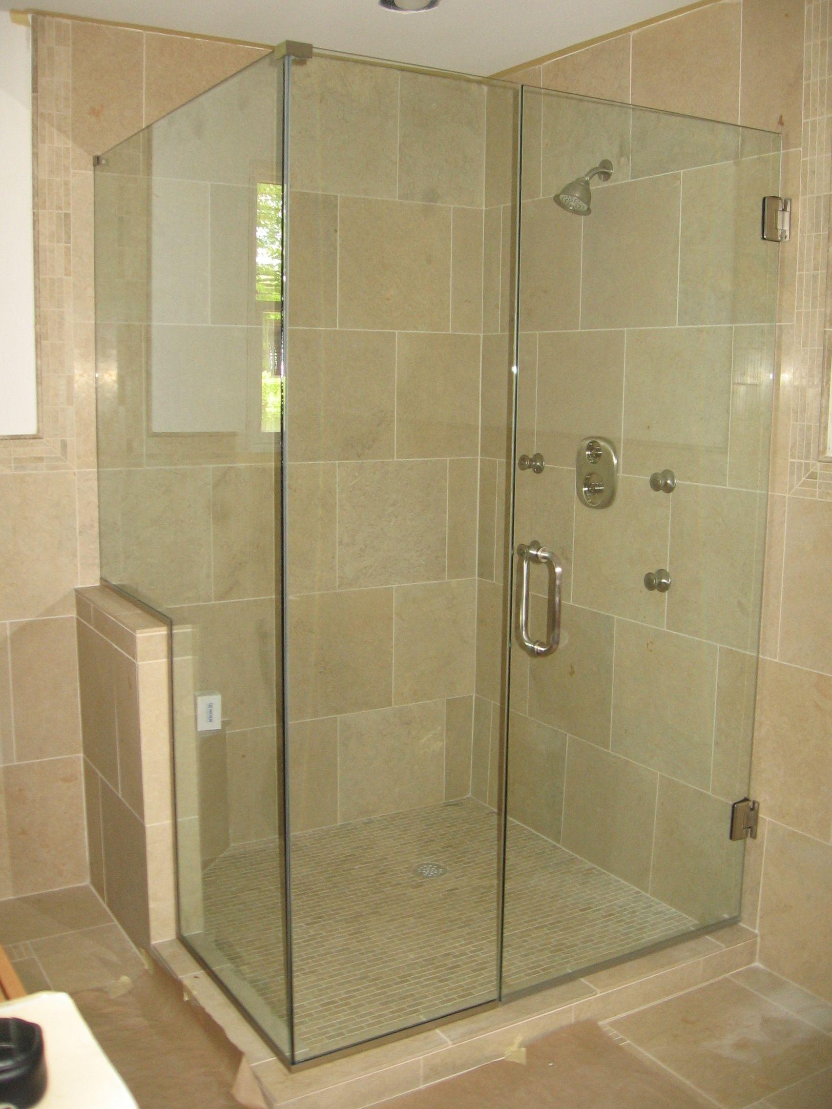 Custom 90 degree shower door, panel, and notched return
