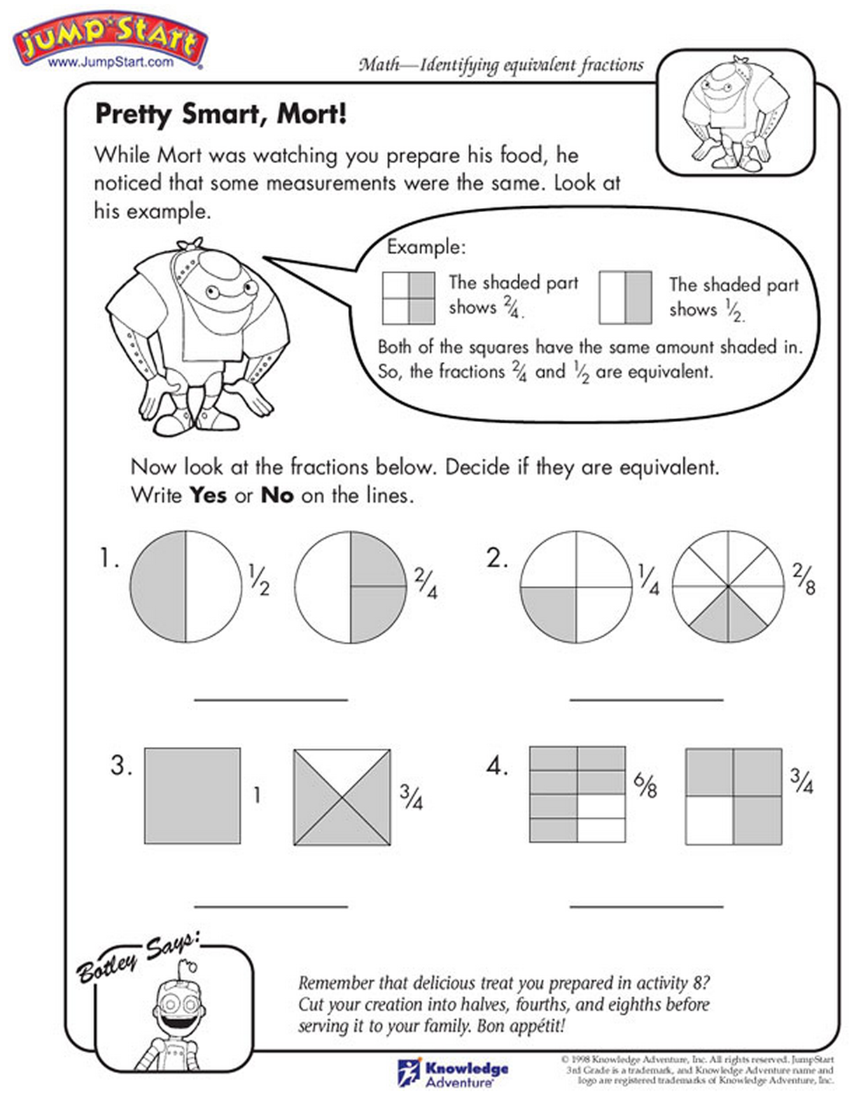 Grasp the concept of fractions Printable Math Sheets