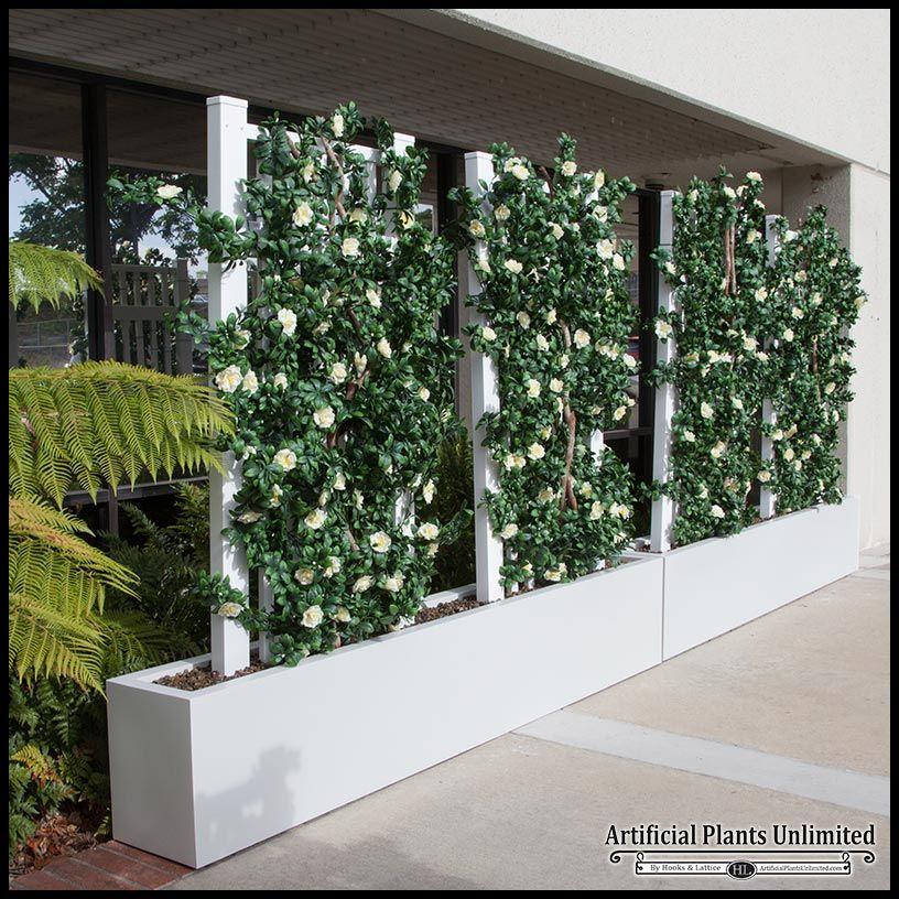 6 L Azalea Trellis Artificial Outdoor Space Divider In Fiberglass Planter Artificial Plant Wall Artificial Plants Outdoor Artificial Plants Indoor