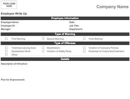 Employee Write Up Form business template Pinterest Template - employment verification form