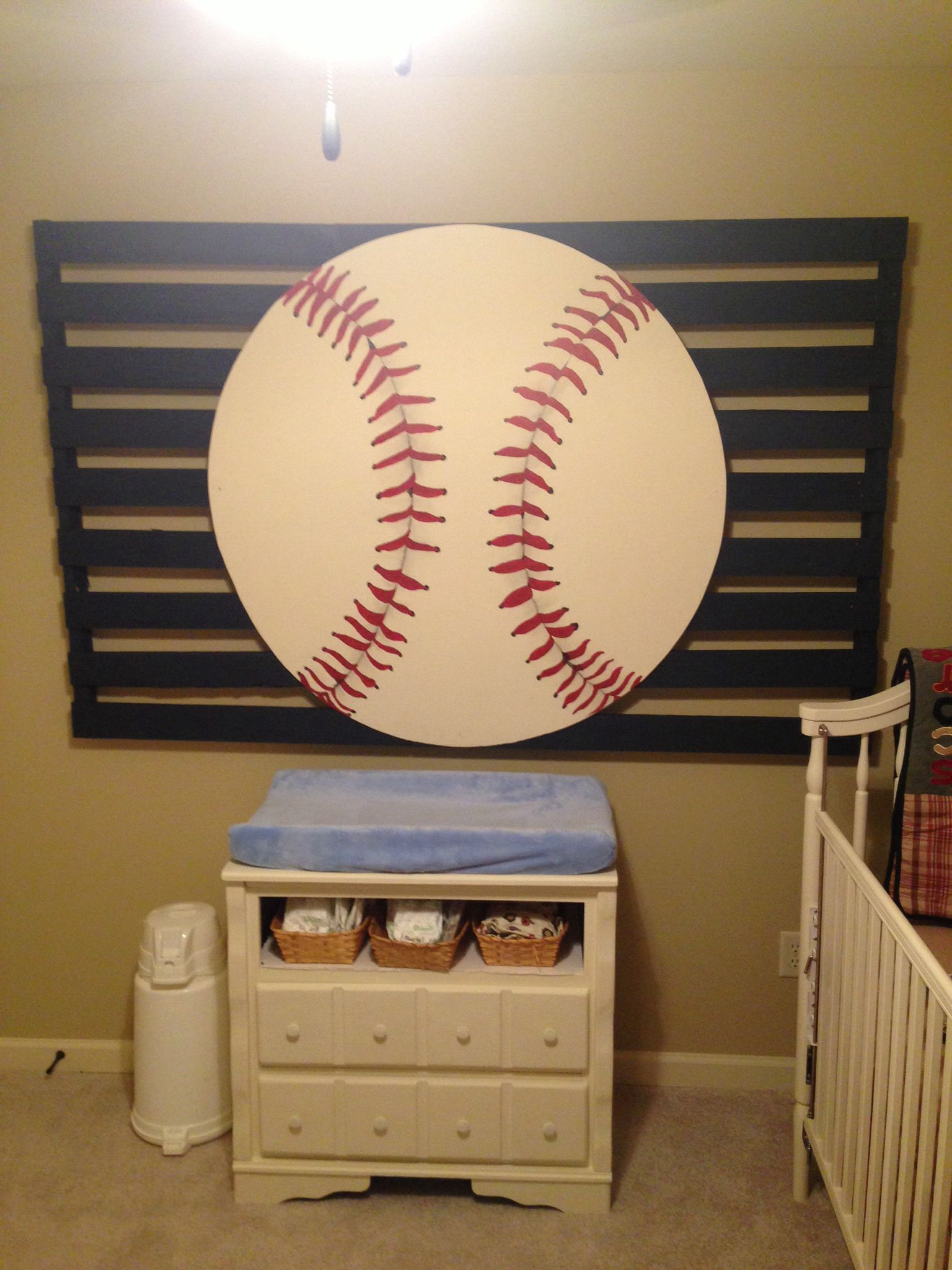 Baseball nursery; my husband played ball at auburn. we hung a ...
