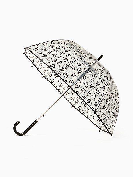 Kate Spade Lipstick Hearts Bubble Umbrella Black