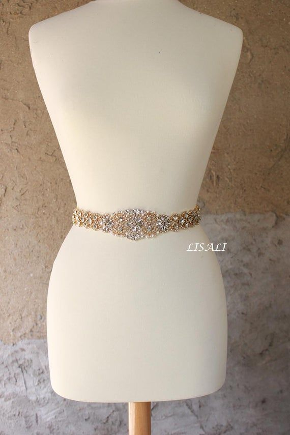 Photo of LISALI Sparkly Gold All Around Rhinestone Belt, Wedding Belt…