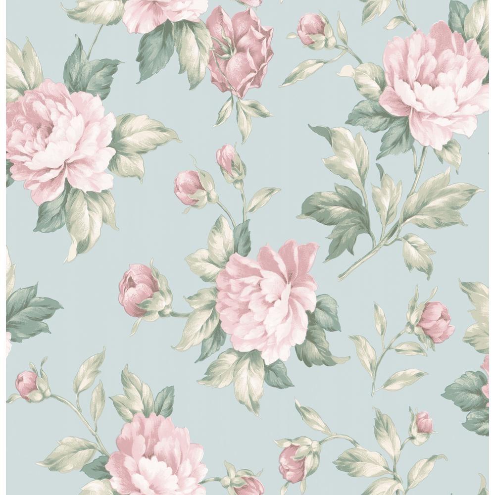 Brewster Catherine Light Blue Floral Wallpaper Sample Blue