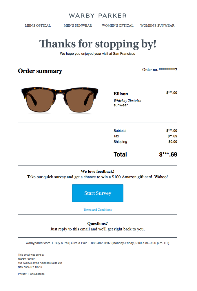 Warby Parker Receipt Email Sl Nice Seeing You Note The Warby Parker Receipt Is Clean And Clear I Know What I Or Thank You Email Best Email Triggered Email