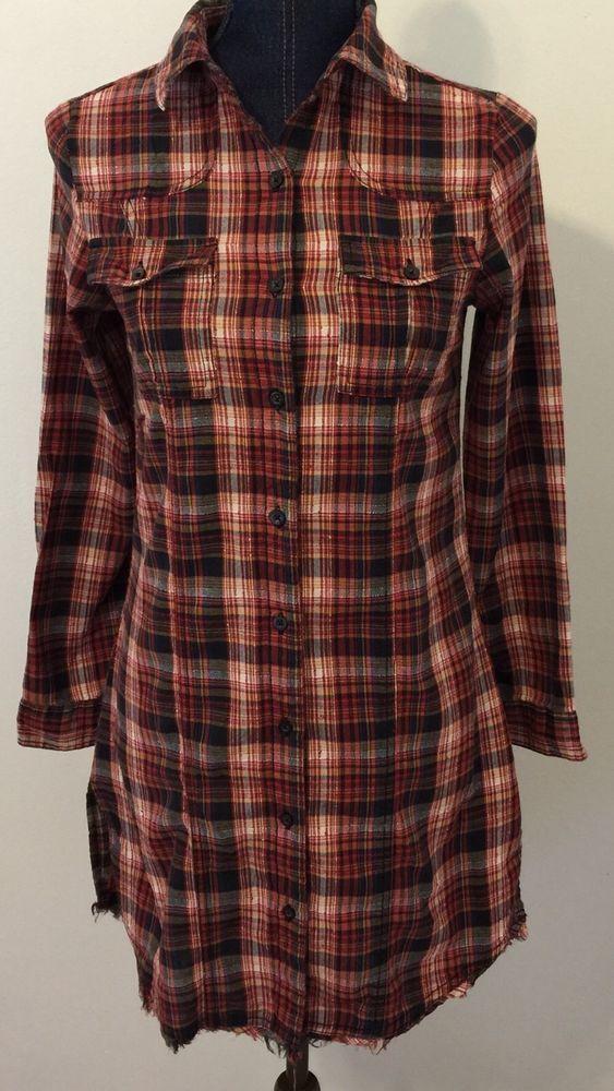 a72a0bc8f Japna Juniors Size Small Plaid Western Style Distressed Shirt Dress Long  Tunic…