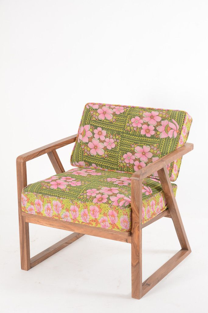 Retro 50's Chair with Kantha Fabric FT210-19 | Floral Design – Ian Snow Ltd