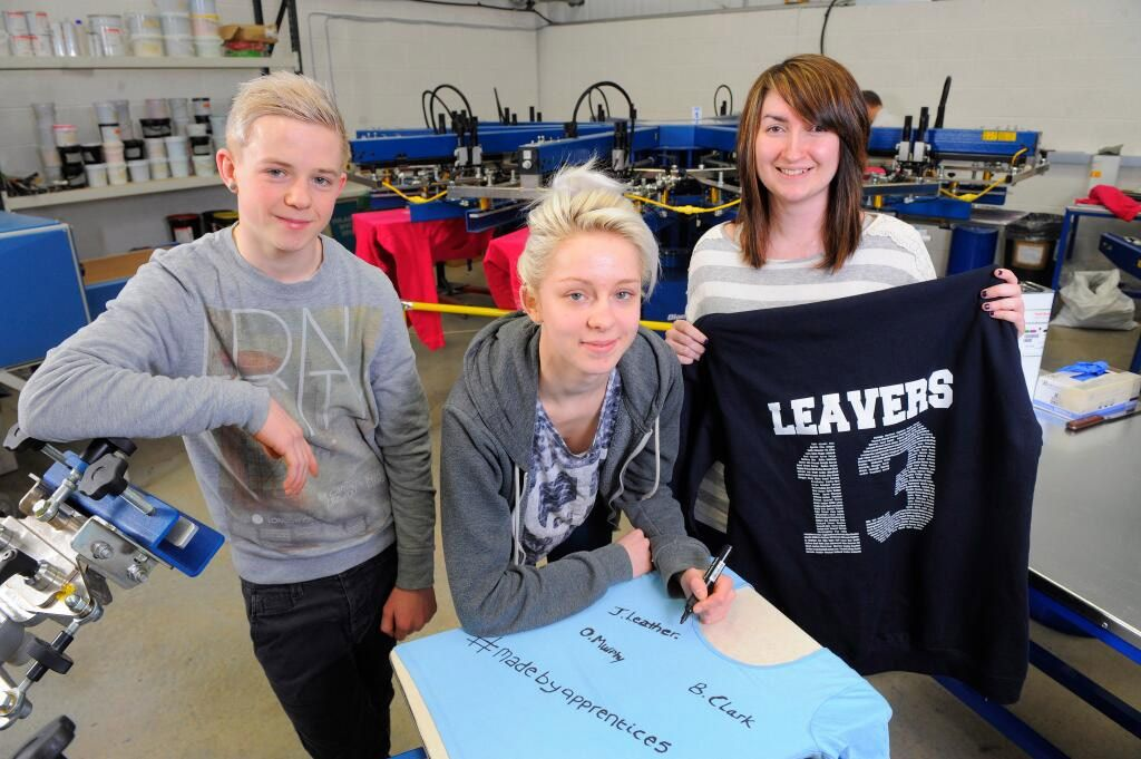 The Banana Moon apprentices earlier today: Beth, Oli and Jemma.    Banana Moon are makers of personalised clothing