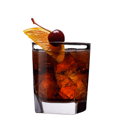 Godfather Number 7 Cocktail Served With Orange Slice And Cherry Whiskey Drinks Recipes Alcohol Drink Recipes Jack Daniels Recipes