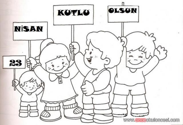 23 Nisan Kutlu Olsun Pankartlı çocuklar Boyama önce Okul