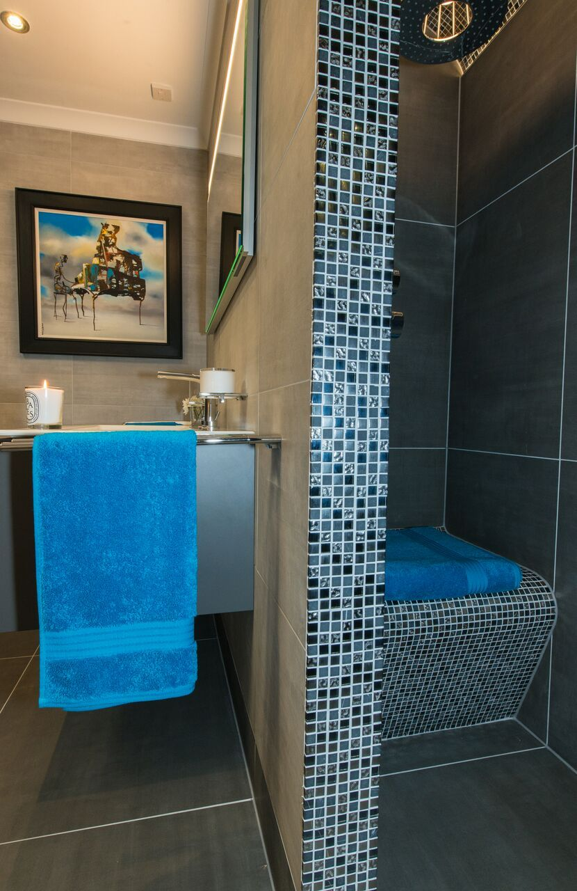 Bespoke tiled shower seat detail | Our Showroom | Perth, Scotland ...
