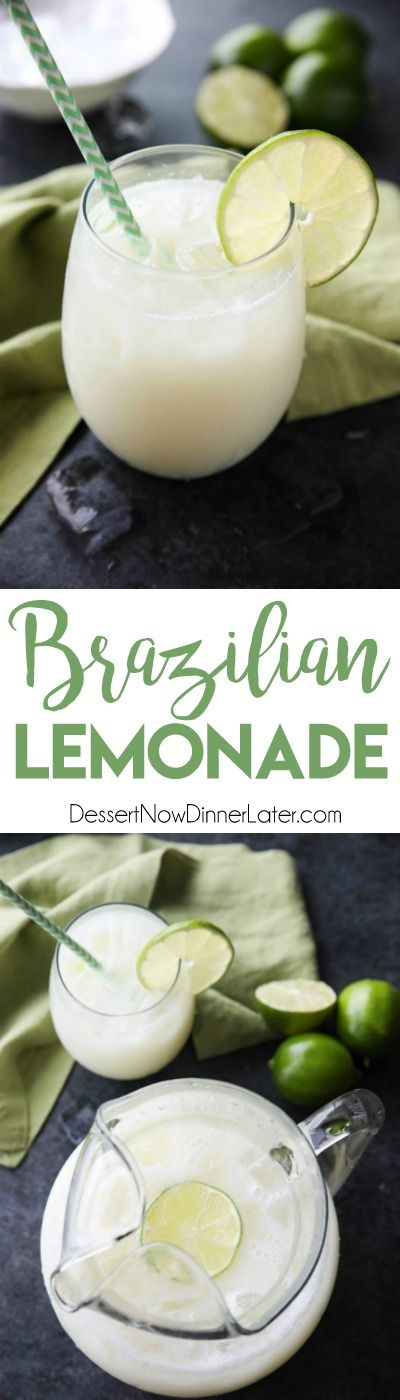 Brazilian Lemonade is actually a creamy limeade that is perfectly sweet and slightly tangy. The secret ingredient that makes it creamy will have you pouring glass after glass of this refreshing drink. Perfect for hot summer days, parties, and potlucks! #lemonade
