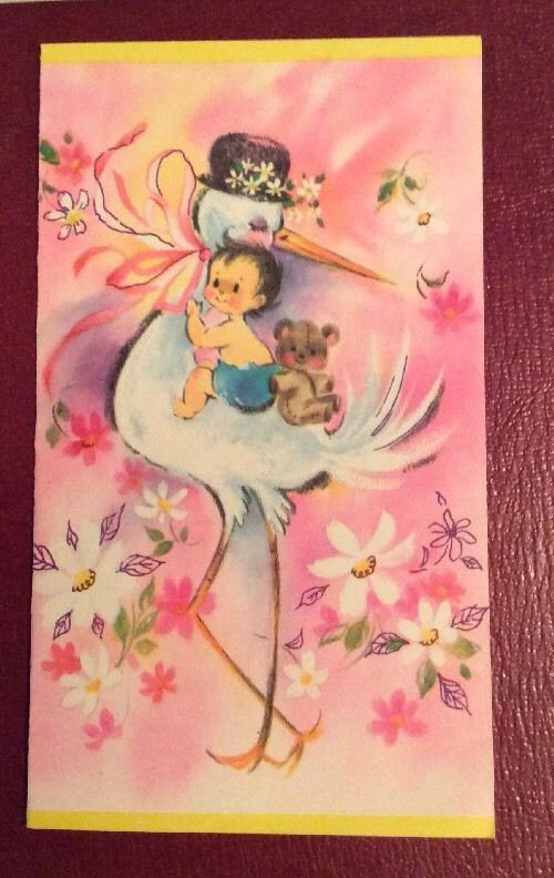 1 Vintage 1950's New Baby Greeting Card