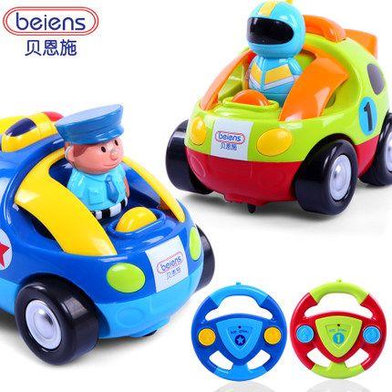 贝恩施儿童卡通遥控车 耐摔带音乐灯光电动遥控车 宝宝玩具车模型