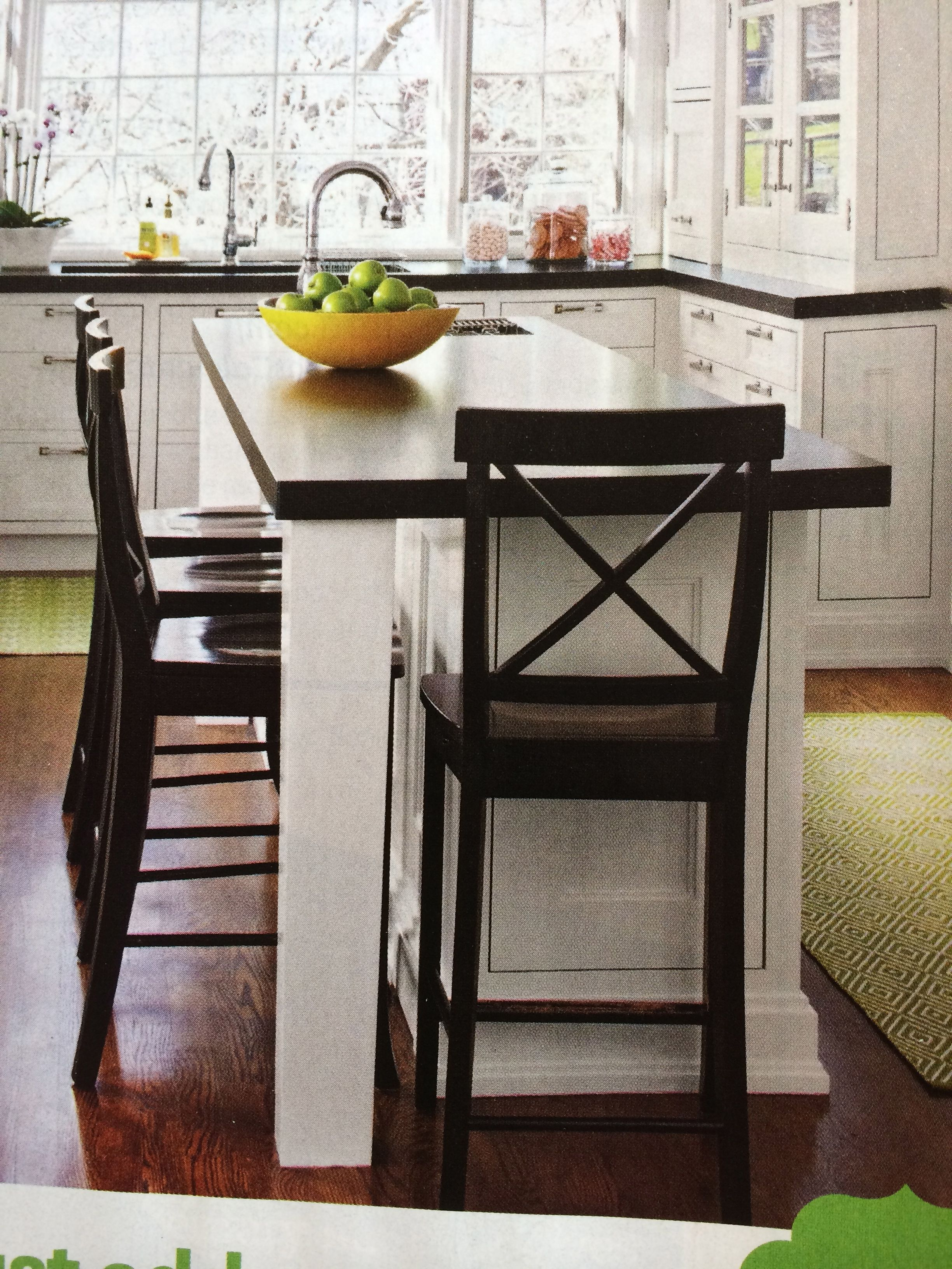 Narrow island with seating tucked under kitchen - Narrow kitchen island with seating ...