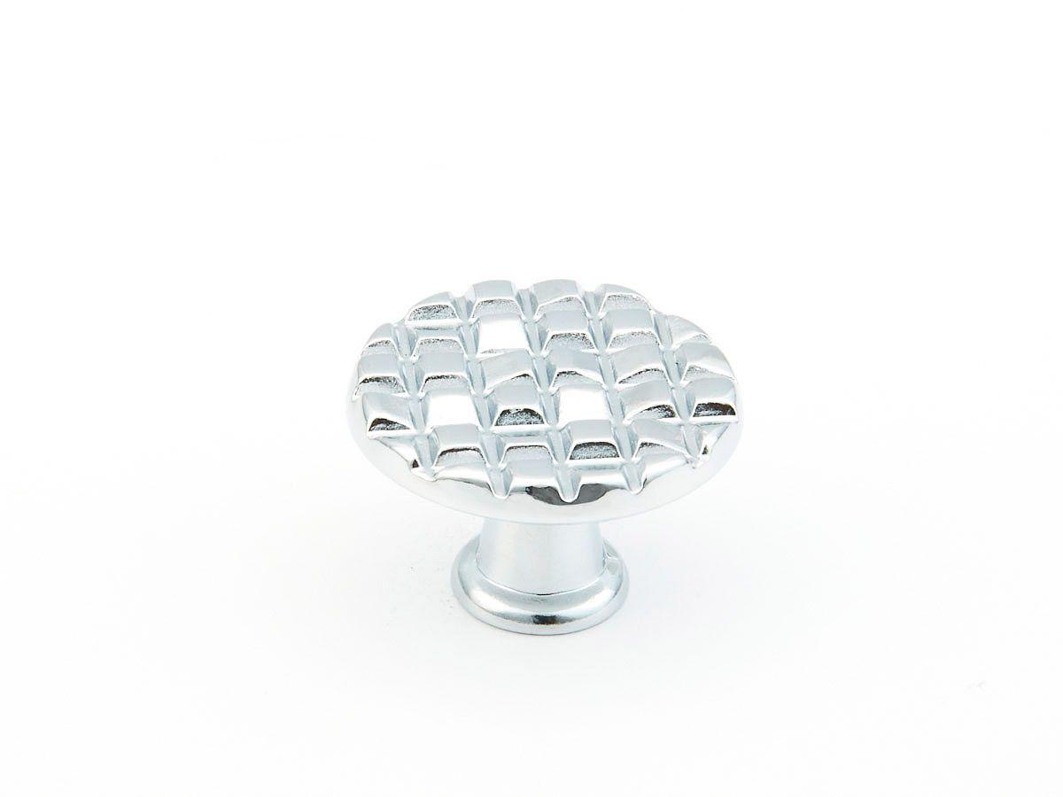 "Mosaic, Small round knob, 1 1/8"", polished chrome finish, Schaub and Company Decorative Hardware"