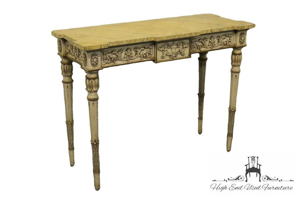 KARGES Louis XVI French Style 43 Faux Marble Top Console Table