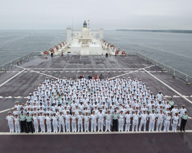 The Crew Of The Usns Comfort A Hospital Ship That Is Currently Anchored Off The Coast Of Puerto Rico To Provide Help For The Hurricane Victims Puerto Rico Hospital Coast