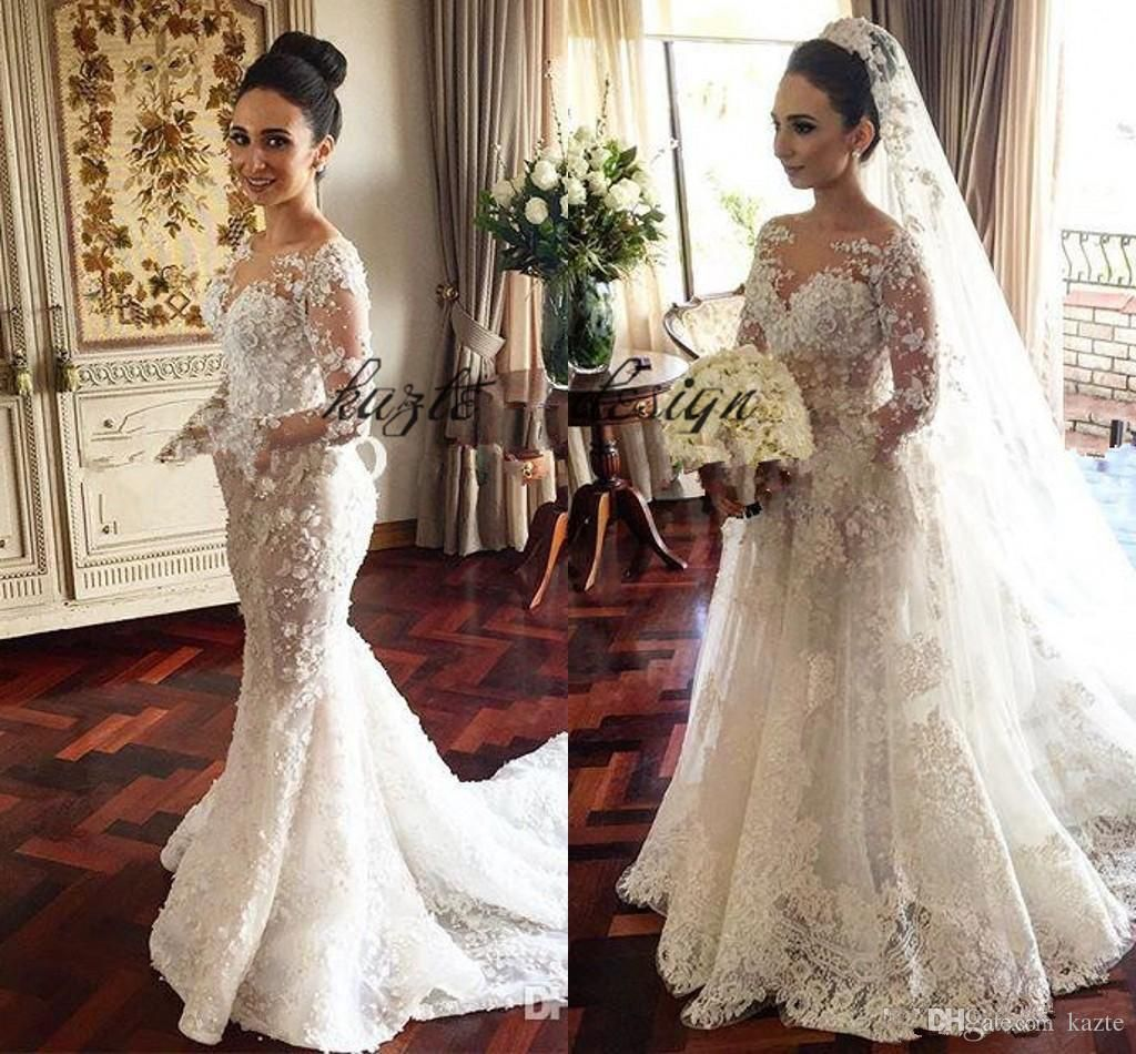f9d1118d0b2 2018 Steven Khalil Mermaid Wedding Dresses with Detachable Skirt Stunning  Detail 3D Floral Sheer Neck Illusion Long Sleeve Wedding Gown Mermaid  Wedding ...