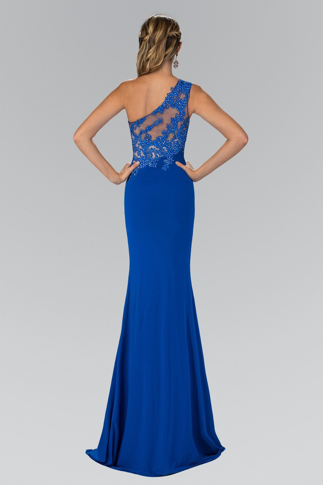 Sexy one strap fitted prom dress with high slit gl gala