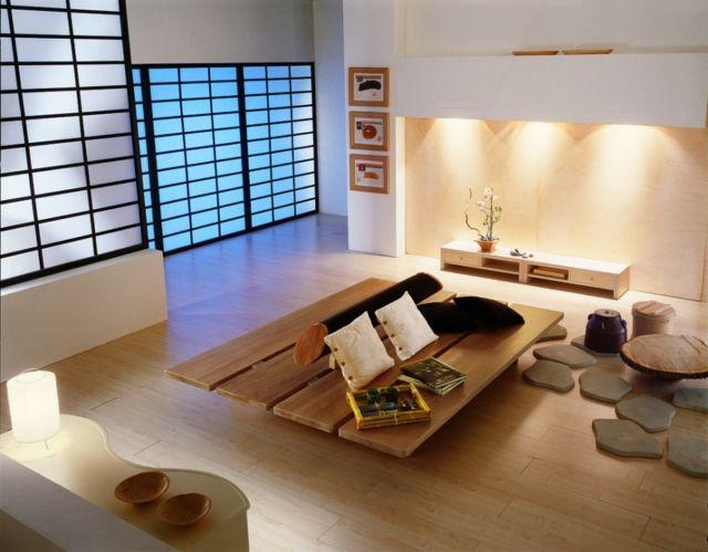 wohnzimmer wohnideen japanischer stil niedrige holz tisch möbel, Esstisch ideennn