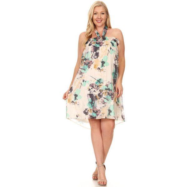 Women\'s Xehar Women\'s Plus Size Floral Print Halter Summer Dress ...