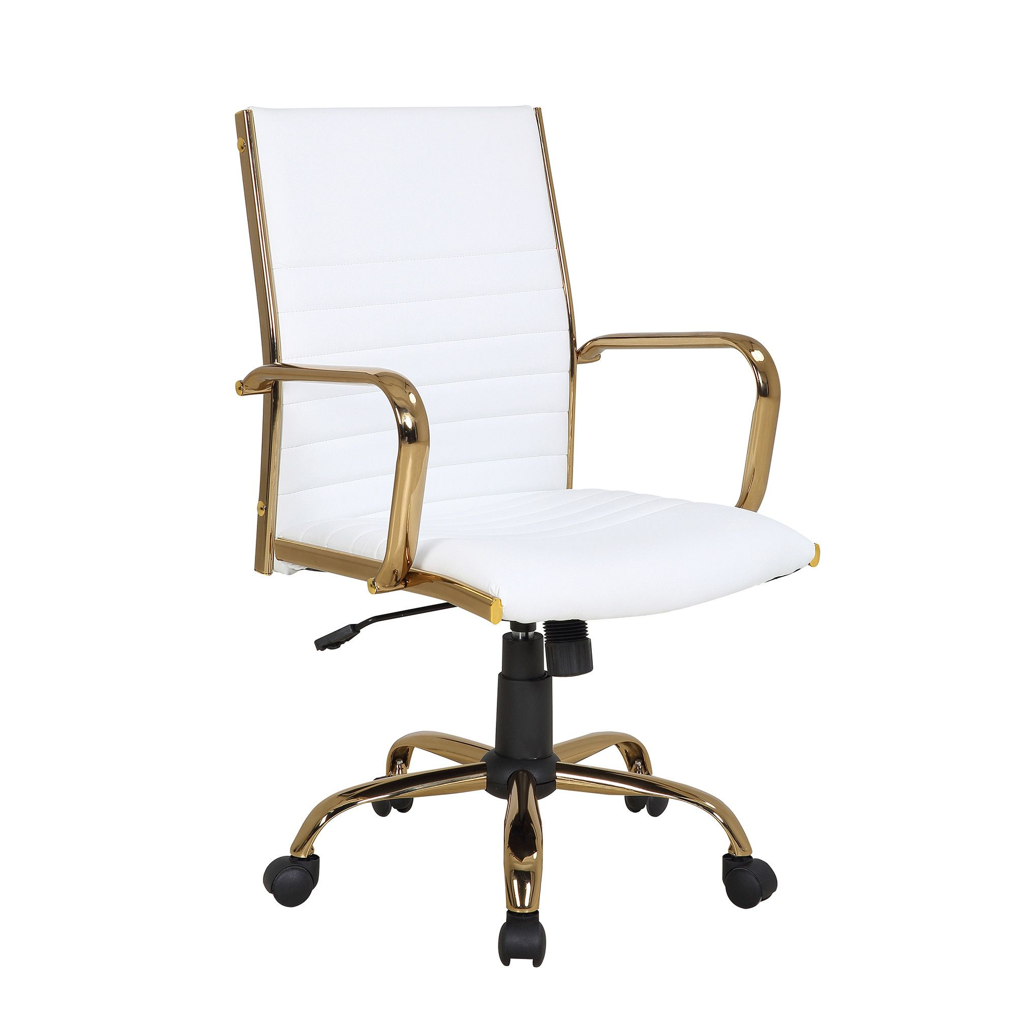 Master Contemporary Adjustable Office Chair W Swivel In Gold W White Faux Leather Lumi Adjustable Office Chair Contemporary Office Chairs Gold Office Chair