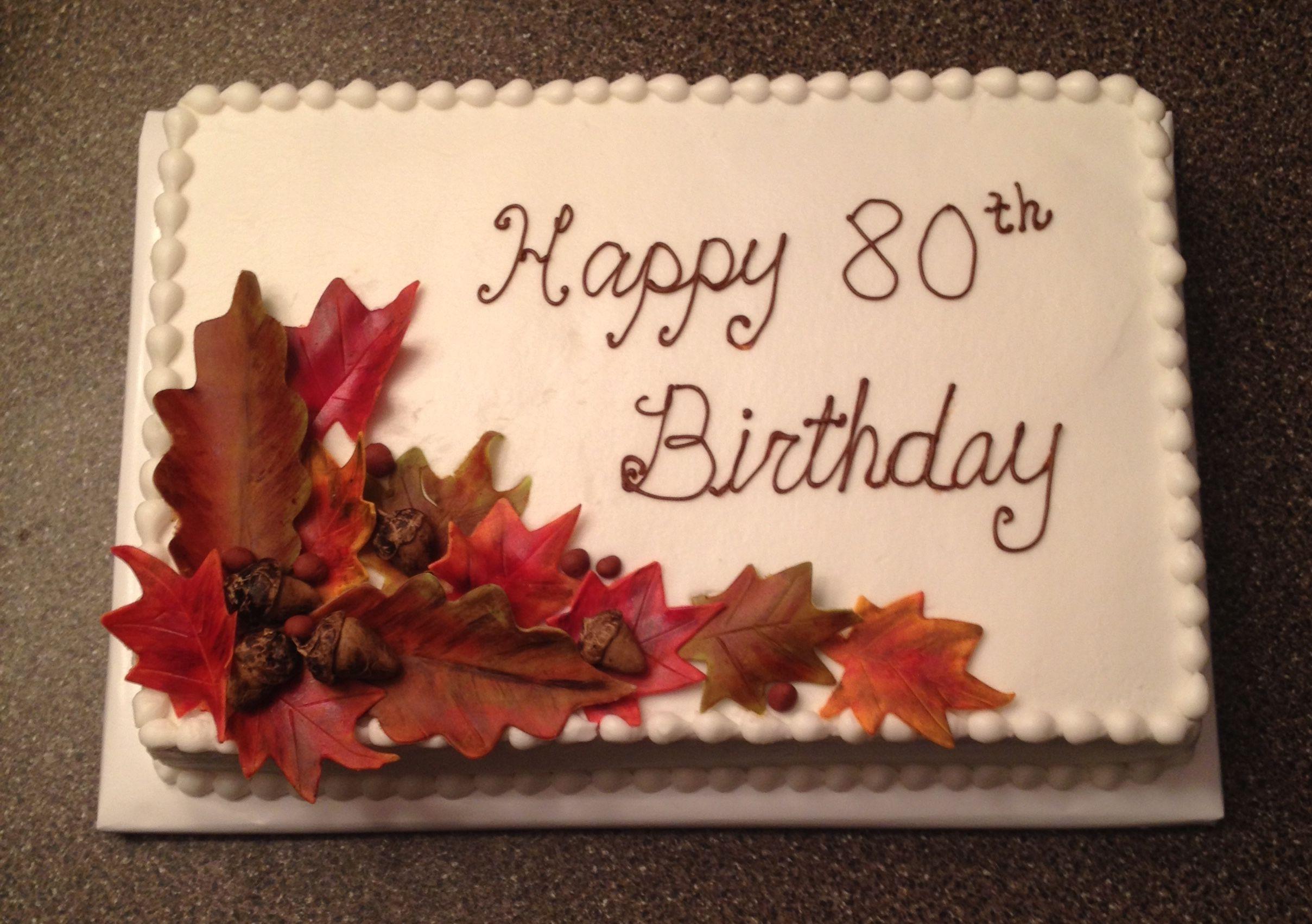 Autumn Theme Birthday Cake 11x15 Sheet Cake Decorated