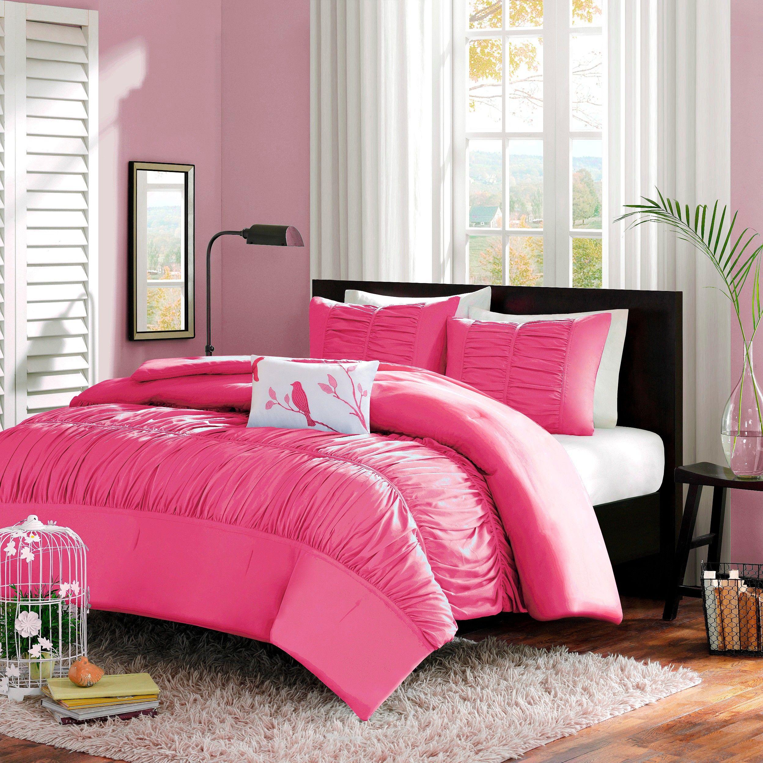 haley 4 piece comforter set  pink fullqueen