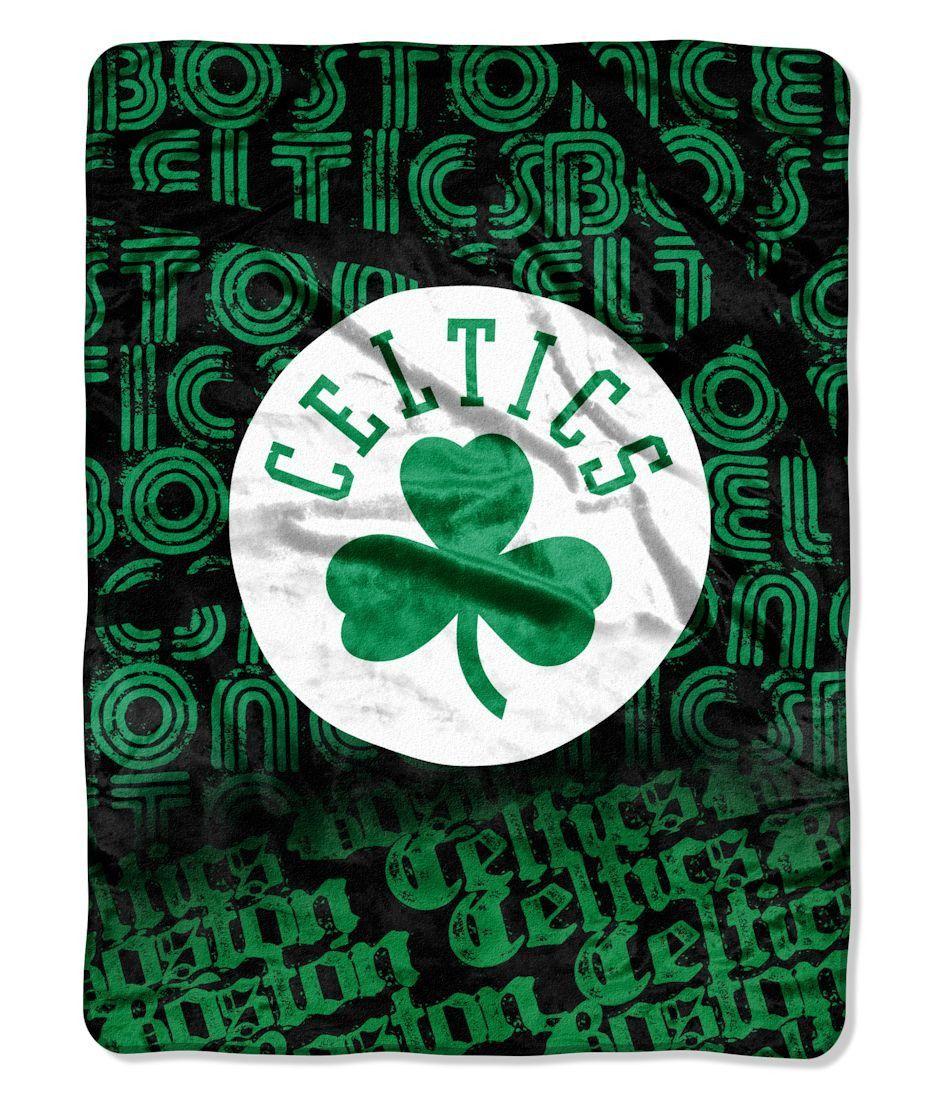 Boston Celtics Blanket Blanket 46x60 Raschel Redux Design Rolled ... 07e7d6540fa1