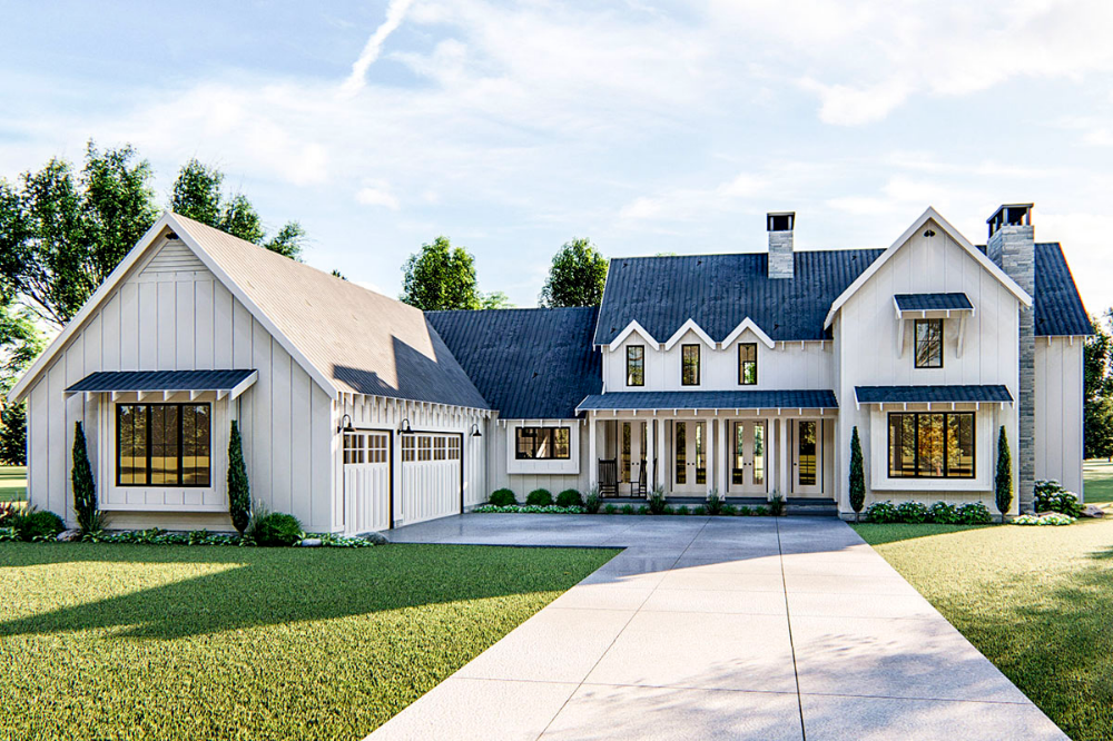 Plan 62544DJ: Modern 4 Bedroom Farmhouse Plan | Modern ...