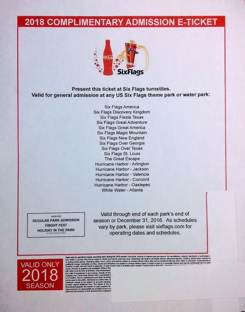 2018 Us Any Six Flags Theme Park Or Water Park E Ticket Admission For Single Day Ebay
