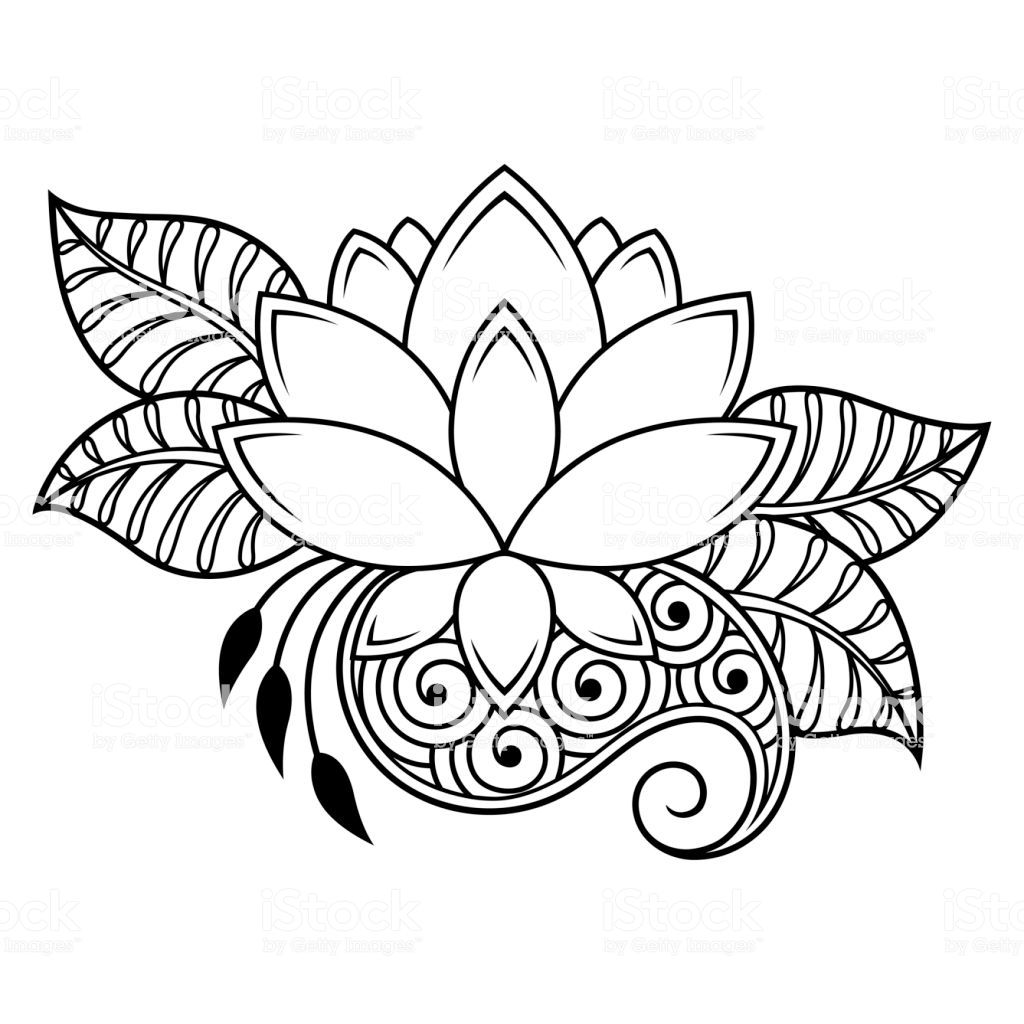 Mehndi lotus flower pattern for Henna drawing and tattoo