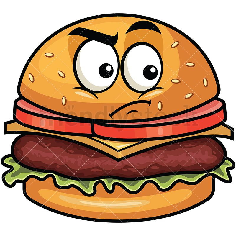 Irritated Hamburger Emoji Cartoon Vector Clipart Friendlystock Cartoon Clip Art Cartoons Vector Cartoon