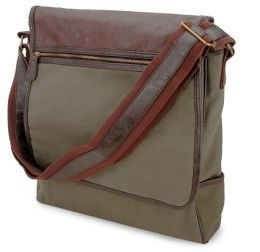 Olive Green Vertical Canvas Messenger Bag w/Faux Leather Trim (13