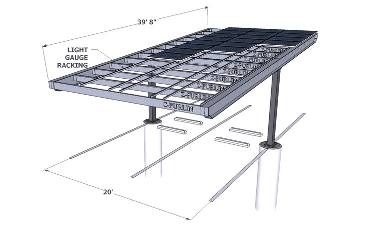 Solar carport render single column solar porch solutions