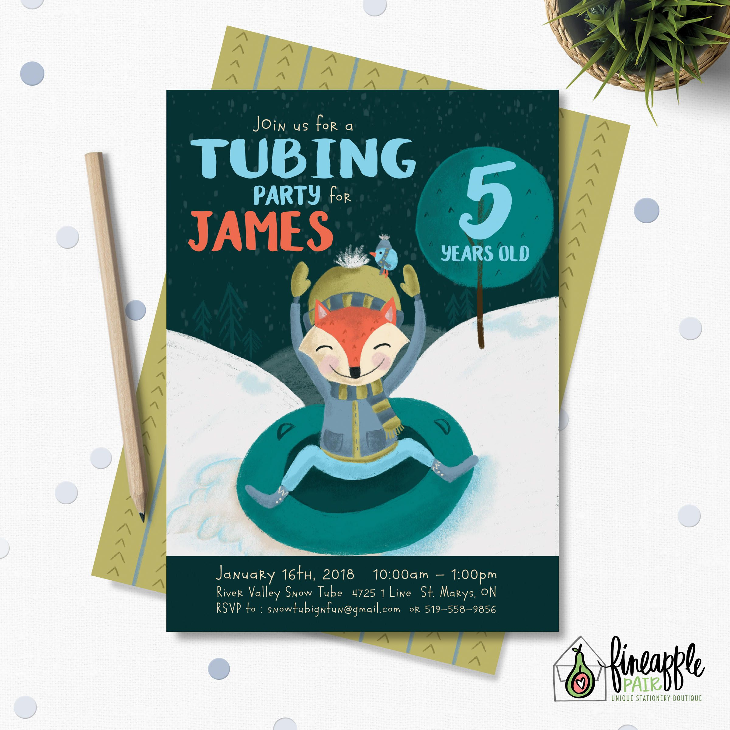 Tubing Party Invitation, Tubing Birthday, Boy Birthday, Winter Party ...