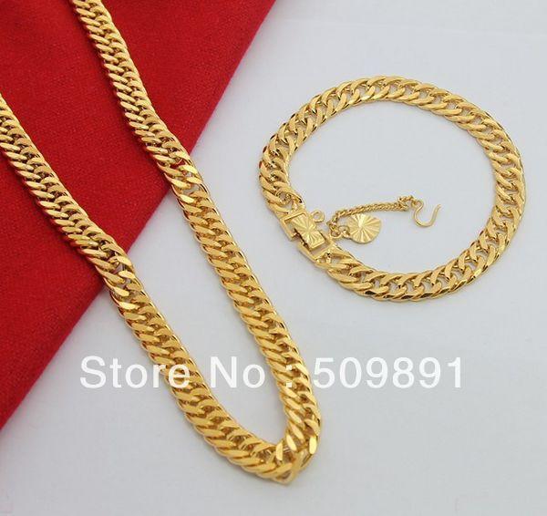 Se692 Fashion 24 Carat Gold Colou Chains Jewelry Sets Design For Men 7 5mm Chain Necklaces 6 Bracelets Charm Ornament