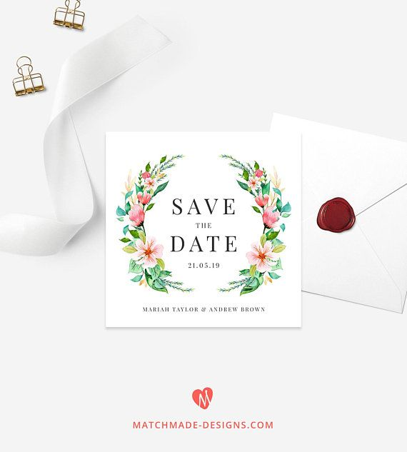 tropical save the date template floral save the date card
