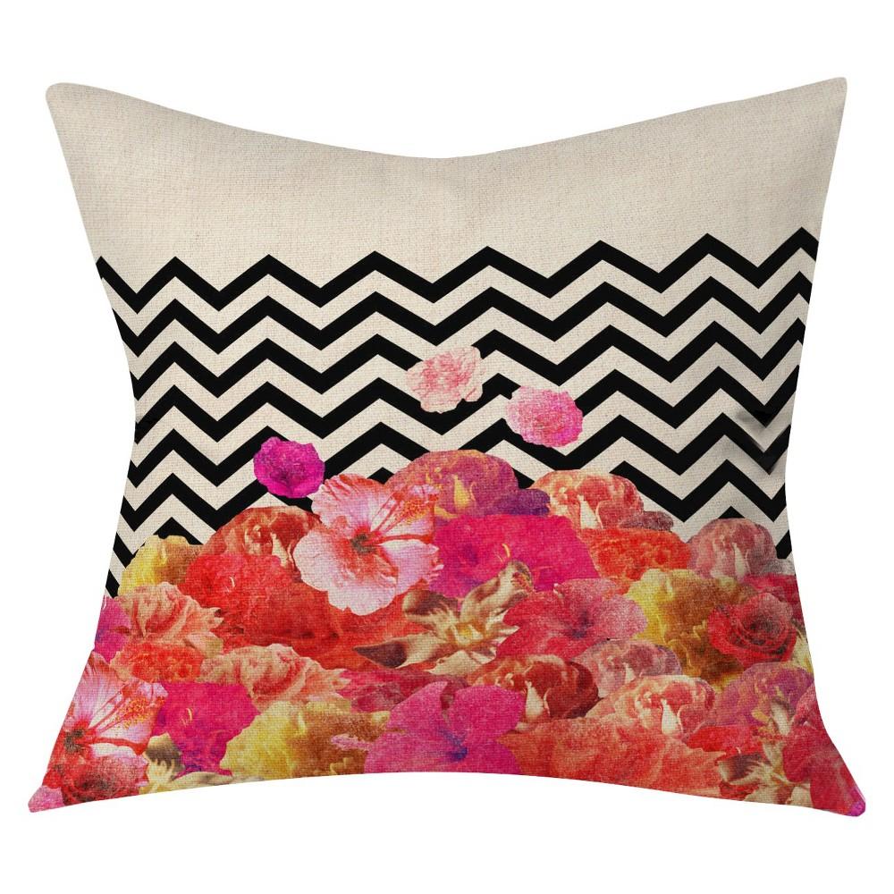 Pink Bianca Chevron Flora Throw Pillow 20 X20 Deny Designs In 2021 Throw Pillows Pillows Deny Designs